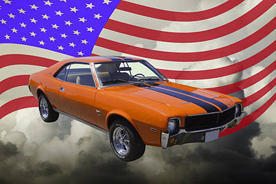 Photograph - Orange 1969 Amc Javlin Car And American Flag by Keith Webber Jr