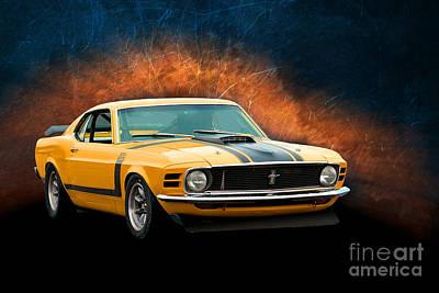 Photograph - Orange 1970 Boss 302 Mustang by Stuart Row