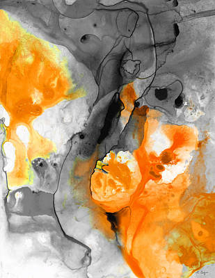 Wall Hanging Painting - Orange Abstract Art - Iced Tangerine - By Sharon Cummings by Sharon Cummings