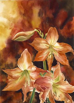Amaryllis Watercolor Painting - Orange Amaryllis by Alfred Ng