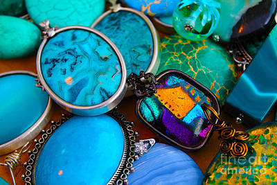 Silver Turquoise Photograph - Orange Among Blue Gems by Nina Silver
