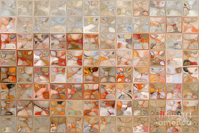 Beige Glass Painting - Orange And Beige. Modern Mosaic Tile Art Painting by Mark Lawrence