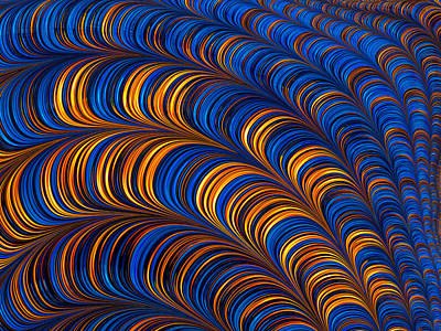 Digital Art - Orange And Blue Abstract Pattern by Matthias Hauser