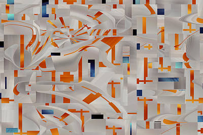 Digital Art - Orange And Blue Confetti - Digital Abstract by rd Erickson