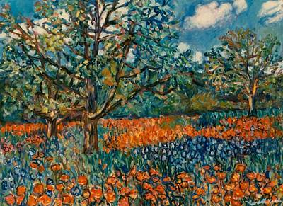 Painting - Orange And Blue Flower Field by Kendall Kessler