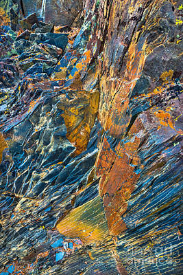 Pine Needles Photograph - Orange And Blue Rock Abstract by Alexander Kunz