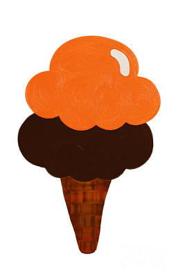 Tasting Digital Art - Orange And Chocolate Ice Cream by Andee Design