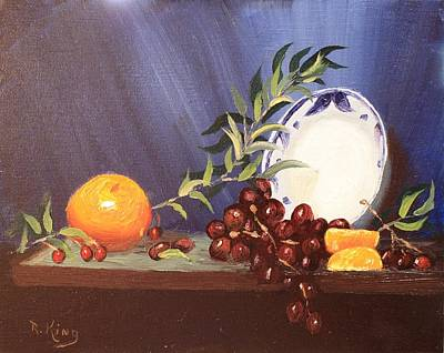 Painting - Orange And Grapes by Roena King