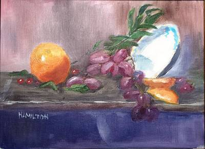 Painting - Orange And Grapes Still Life by Larry Hamilton