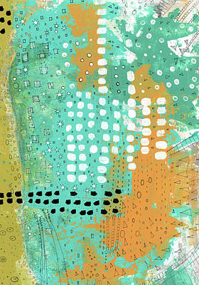 Rust Painting - Orange And Green Abstract by Sarah Ogren