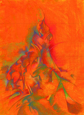 Psychedelic Drawing - Orange And Green by Bodhi