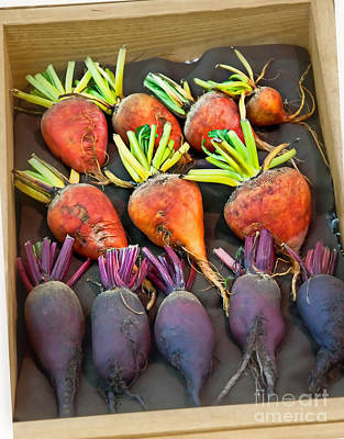 Photograph - Orange And Purple Beet Vegetables In Wood Box Art Prints by Valerie Garner