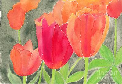 Orange And Red Tulips Art Print