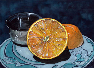 Art Print featuring the painting Orange And Silver by Barbara Jewell