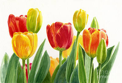 Tulip Painting - Orange And Yellow Tulips Horizontal Design by Sharon Freeman