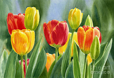 Tulips Watercolor Wall Art - Painting - Orange And Yellow Tulips With Background by Sharon Freeman