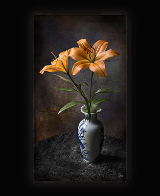 Photograph - Orange Asiatic Lilies In Vase by Endre Balogh