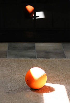 Photograph - Orange Ball Abstract And Reflection by Karen Adams