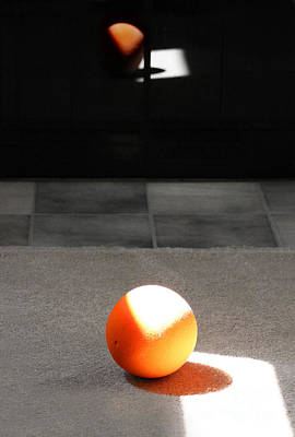 Photograph - Orange Ball Abstract In Grey by Karen Adams