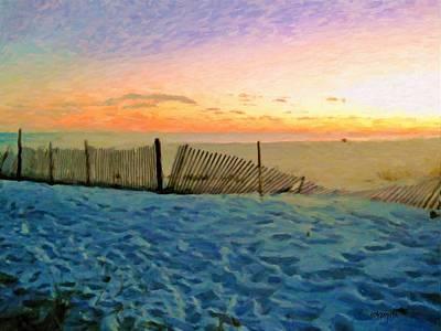 Seashore Quote Wall Art - Photograph - Orange Beach Sunset - The Waning Of The Day by Rebecca Korpita