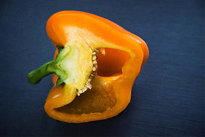 Photograph - Orange Bell Pepper Blue Texture by Matthias Hauser
