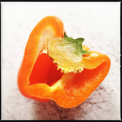 Food And Beverage Photograph - Orange Bell Pepper - Square Format by Matthias Hauser