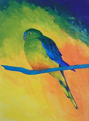 Orange-bellied Parrot Print by Margaret Saheed