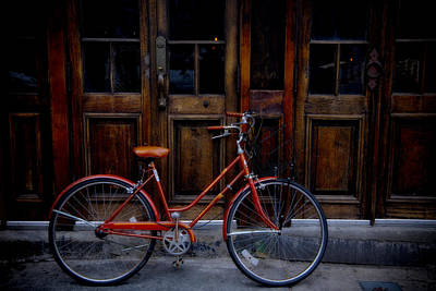 Handlebar Photograph - Orange Bike by Garry Gay