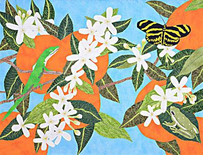 Tapestry - Textile - Orange Blossoms by Pauline Barrett