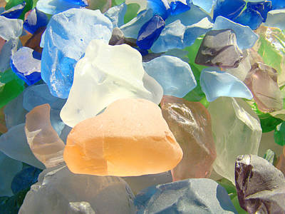 Orange Blue Seaglass Art Prints Decorative Sea Glass Art Print