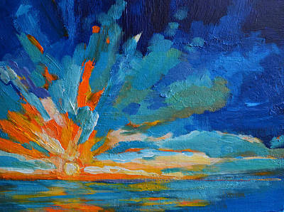 Nature Abstract Painting - Orange Blue Sunset Landscape by Patricia Awapara