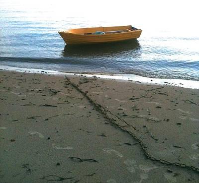 Photograph - Orange Boat And Chain by Phoenix De Vries