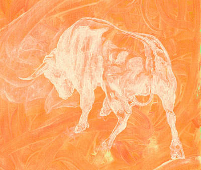 Orange Bull Negative Art Print