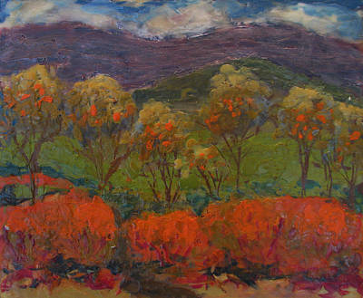 Painting - Orange Bushes by Art Nomad Sandra  Hansen