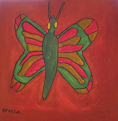 Art Print featuring the painting Orange Butterfly by Artists With Autism Inc