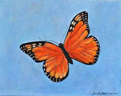 Orange And Black Butterfly Painting - Orange Butterly by Suely Cassiano