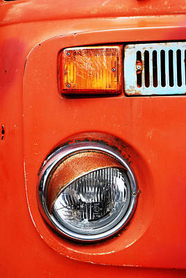 Old Trucks Photograph - Orange Camper Van by Mark Rogan