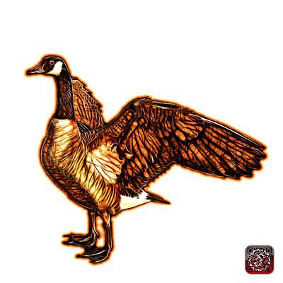 Mixed Media - Orange Canada Goose Pop Art - 7585 - Wb by James Ahn