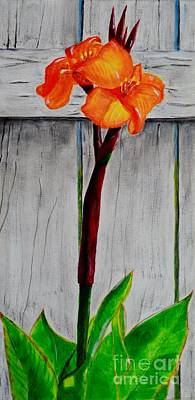 Art Print featuring the painting Orange Canna Lily by Melvin Turner