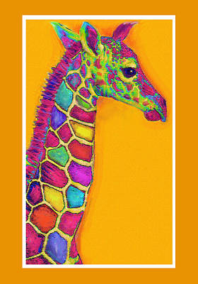 Orange Carosel Giraffe Art Print by Jane Schnetlage