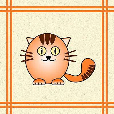 Digital Art - Orange Cat - Animals - Art For Kids by Anastasiya Malakhova