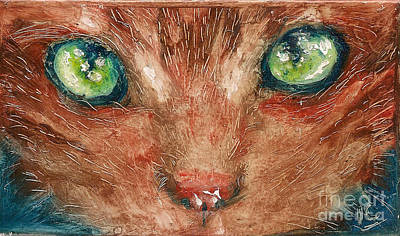 Painting - Orange Cat by Donna Chaasadah