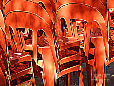Digital Art - Orange Chairs by Valerie Reeves