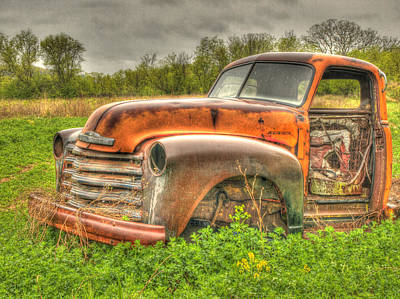 Orange Chevy Art Print