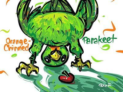 Parakeet Drawing - Orange-chinned Parakeet by Brett LaGue