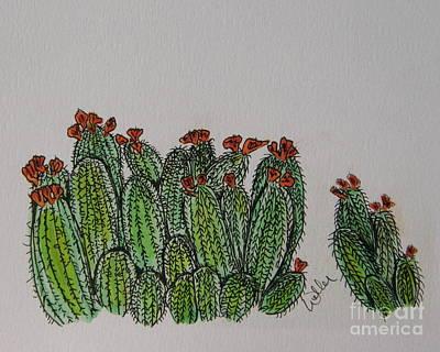 Southwest Landscape Drawing - Orange Claret Cups by Marcia Weller-Wenbert
