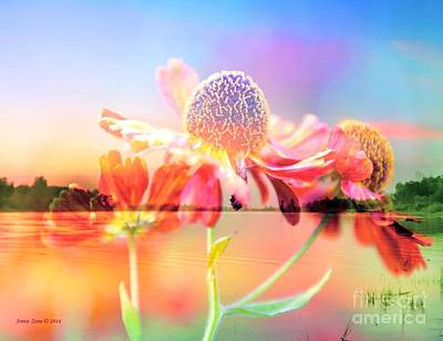 Photograph - Orange Coneflower By The Lake by Annie Zeno