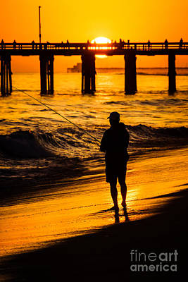 Orange County California  Sunset Fishing Picture Art Print by Paul Velgos