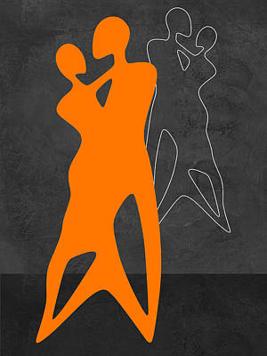 Man And Woman Mixed Media - Orange Couple Dancing by Naxart Studio