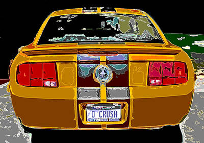 Photograph - Orange Crush Mustang Rear View by Samuel Sheats